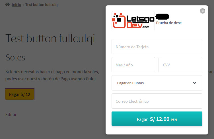 botones de pago en el contenido culqi
