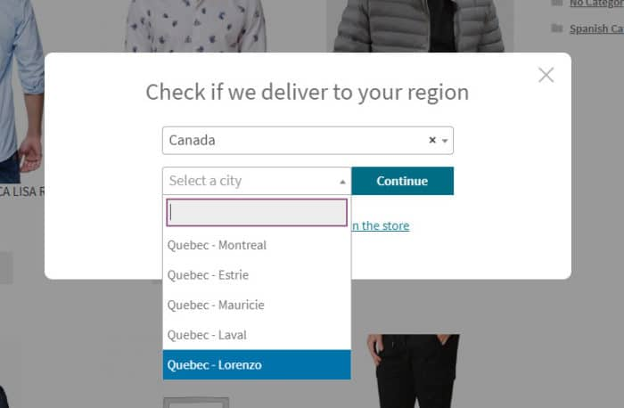 check your region woocommerce postcode