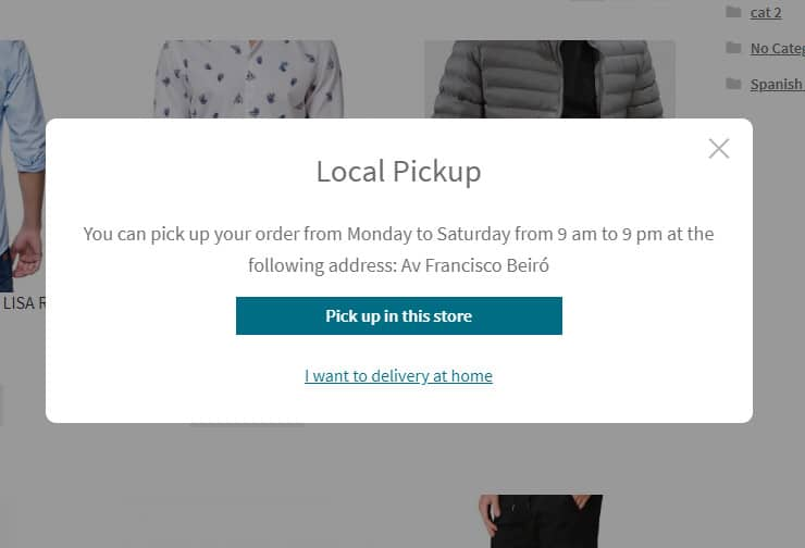 local pickup Woocommerce Postcode
